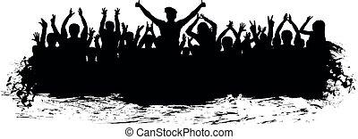 applaudir, silhouette., applaudissements, foule, gens