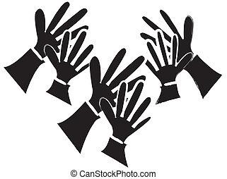 applaudir, silhouette, mains