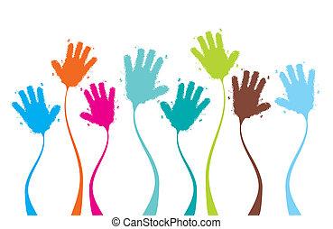 applaudiseren, klappende handen, gekke , achtergrond, voor, jouw, ontwerp