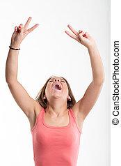 applaudissement, femme, rire, jeune, victorieux