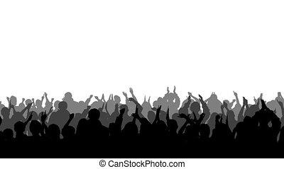 applaudissement, silhouettes, 2, foule