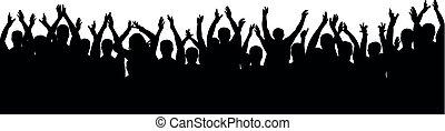 applaudissements, foule, gens, cheering., haut, silhouette., gai, mains