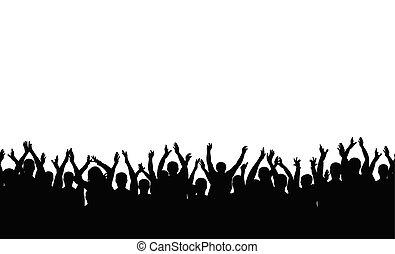 applaudissements, foule, gens, cheering., pattern., seamless, silhouette., gai