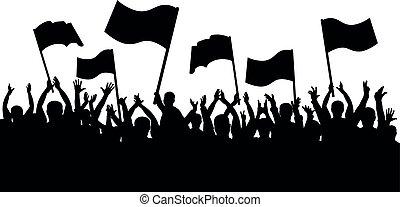 applaudissements, foule, gens., silhouette, sports, gai, ventilateurs, drapeaux