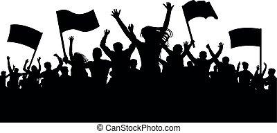 applause., alegre, silueta, turba, torcida, pessoas, fans., demonstração, manifestação, revolta, esportes, greve, vetorial, fundo, banners., bandeiras, protesto, revolução, propaganda.