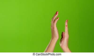 Applause and claps two girl hands on green screen...