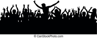 Applause, cheerful crowd silhouette
