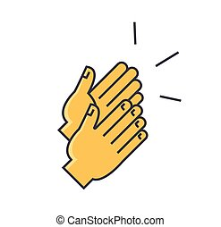 Applause, clapping hands concept. Line vector icon. Editable stroke. Flat linear illustration isolated on white background