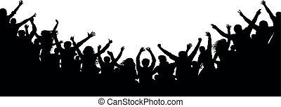 applause., concerto, battimano, folla, persone, ballo, silhouette., allegro, ventilatori, discoteca, festa