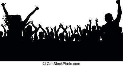 applause., concerto, folla, persone, ballo, silhouette., allegro, ventilatori, discoteca, festa