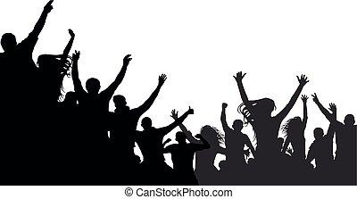 applause., concerto, silhouette, folla, persone, ballo, discoteca, allegro, ventilatori, vector., battimano, festa