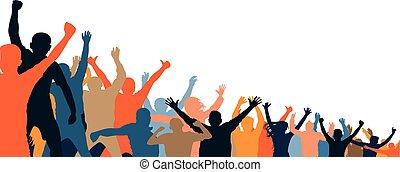 applause., differente, battimano, folla, persone, ballo, concerto, silhouette., allegro, ventilatori, events., discoteca, festa