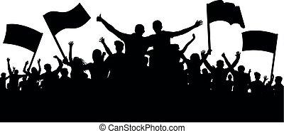 applause., fan., egyetértés, futball, fesztivál, tolong, banner., emberek, emberek., kihallgatás, sport, jókedvű, éljenzés, éljenzés, zászlók, csőcselék, fél, szalagcímek, silhouette., barátok, music.