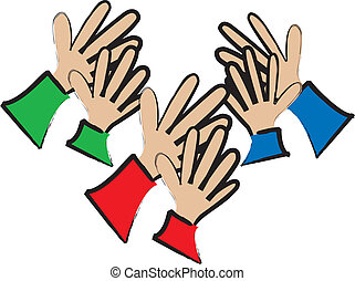 simple cartoon drawing of an audience clapping their hands