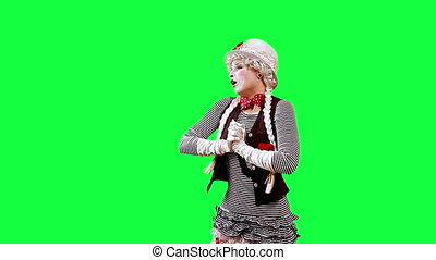 Applause - Funny mime girl applauds. This clip is pre-matted...