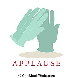 Applause gloves icon silhouette isolated on white background. Bravo logo.