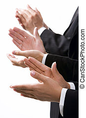 Isolated on white row of clapping hands
