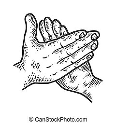 Applause, male palms. Sketch scratch board imitation. Black and white. Engraving vector illustration