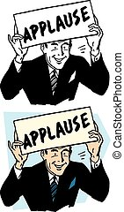 Applause Sign - A smiling man holds up an applause sign.