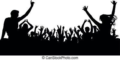 applause., tłum, koncert, taniec, ludzie, silhouette., radosny, dyskoteka, partia