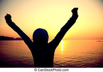 applauso, donna, aperto, braccia, alba