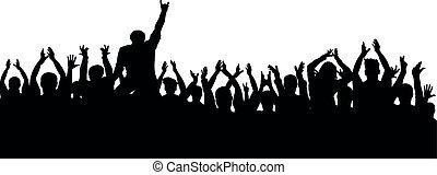 applauso, folla, persone, silhouette., allegro, ventilatori, festa, concerto
