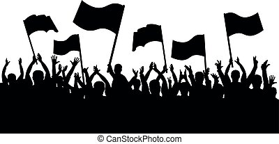 applauso, folla, persone., silhouette, sport, allegro, ventilatori, bandiere