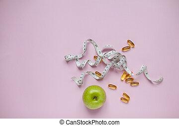 apple., テープ, 測定, concept., 食事, 背景, 丸薬, 食べること, weightloss., 健康, 上, カプセル, 緑, ライラック, 光景