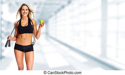 apple., 婦女, 年輕, 健身