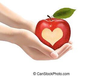 apple., 心, ベクトル, 刻まれた