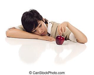 apple., 混ぜられた, 若い, 背景, モデル, 成人, -, 隔離された, 女性, テーブル, 白, アップル, フォーカス, 憂うつ, レース