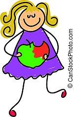 apple a day - little girl eating an apple - toddler art...