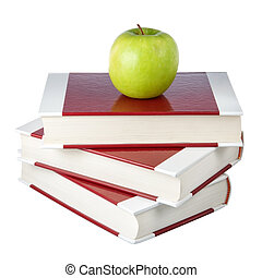 apple., achtergrond., witte , boekjes , stapel
