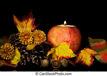 Apple Ambiance - Apple candle with leaves, pine cones and...