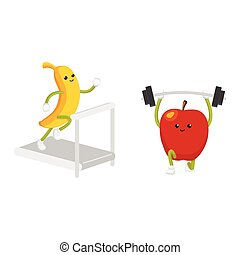 Apple and banana characters working out in gym