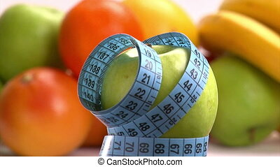 Apple and blue meter. Healthy eating, weight loss concept.