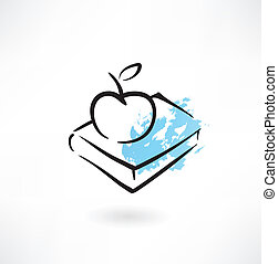 apple and book grunge icon