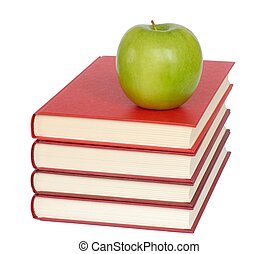 Apple and Books - Healthy lifestyle - isolated apple and...