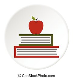 Apple and books icon, flat style