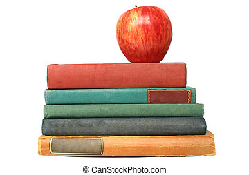 Apple and Books - Red apple and old books over white