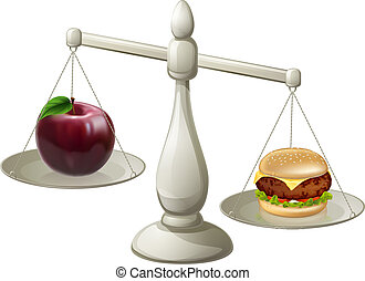 Healthy eating willpower concept - Apple and burger on ...