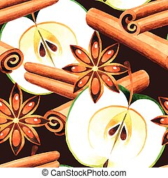 Apple and cinnamon seamless - Christmas watercolor apple and...