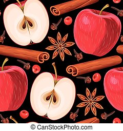 Apple and cinnamon seamless - Red apple and cinnamon vector...