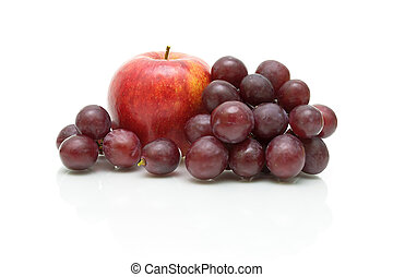 apple and grape close-up on white background
