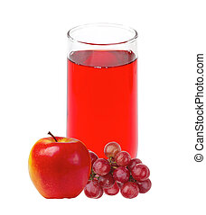 Apple and grape juice in glass isolated on white