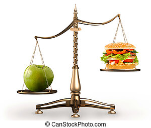 Apple and hamburger on scales conceptual - Big green ripe...