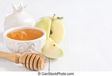 Apple and honey background - Apple and honey, traditional...