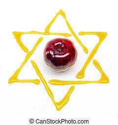 apple and honey - star of david and apple for rosh hashana