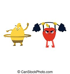 Apple and lemon characters doing sport exercises