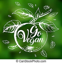 Apple and lettering Go vegan
